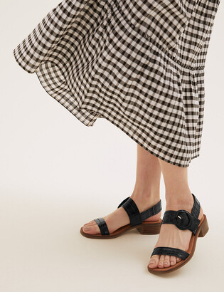 Marks and Spencer Leather Ankle Strap Block Heel Sandals