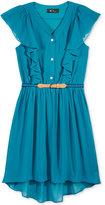 Amy Byer Girls' Ruffle-Front High-Low Shirtdress