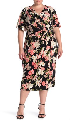 Maggy London Floral Printed Faux Wrap Dress (Plus Size)