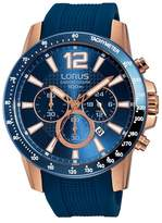 Lorus Gents Rose Gold Case Chronograph On Blue Silicone Strap Rt392ex9