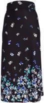 Glam White & Blue Floral Maxi Skirt - Plus