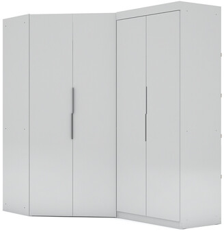 Manhattan Comfort Set Of 2 Mulberry Sectional Corner Wardrobe Closets