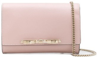 Red(V) bow-detail clutch