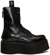 R 13 Black Double Stacked Platform Lace-Up Boots