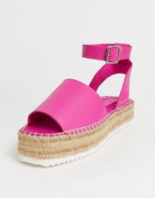 Asos Design DESIGN Jacoba leather flatform espadrilles in magenta-Pink