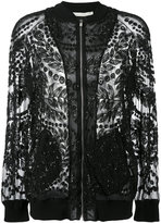 Amen sheer beaded bomber jacket - women - Cotton/Polyamide/Spandex/Elastane/glass - 40
