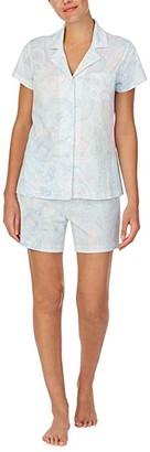 Lauren Ralph Lauren Jersey Knit Short Sleeve Notch Collar Boxer Pajama Set (Mint Paisley) Women's Pajama Sets