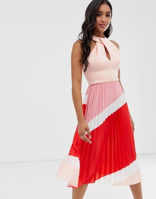 Asos DESIGN halter pleated color block midi dress