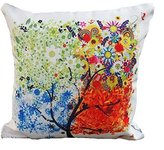 """18 """"X18 """" Decorative Cotton Linen Square Throw Pillow Case Cushion Cover Throw Pillow Shell Pillowcase for Sofa - Colorful Tree"""