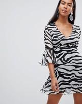 Rare London zebra print flute sleeve day dress