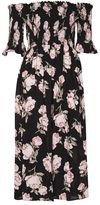 Topshop Floral shirred bardot dress