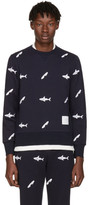 Thom Browne Navy Shark & Surfboard Pullover