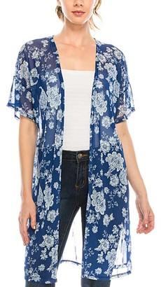 Urban Diction Women's Kimono Cardigans White, - Blue & White Floral Kimono - Women