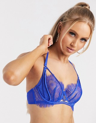 Ann Summers Allurer 1/4 cup bra with lace overlay in cobalt
