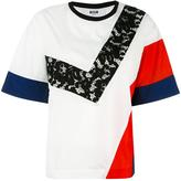 MSGM balloon sleeves colour block T-shirt - women - Polyamide/Polyester - 40