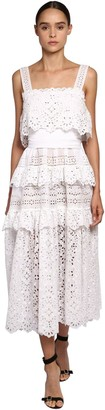 Elie Saab Cotton Lace & Poplin Long Dress