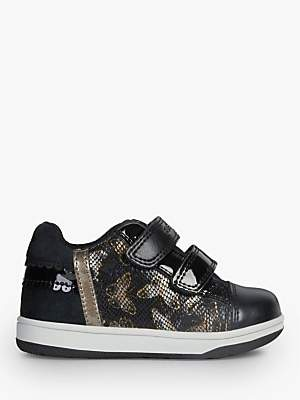 Geox Children's New Flick Double Riptape Shoes, Black