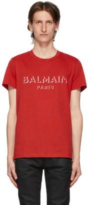 Balmain Red 3D Logo T-Shirt