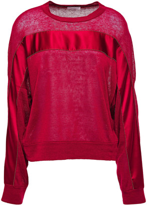 Brunello Cucinelli Bead-embellished Satin-trimmed Slub Linen-blend Jersey Top