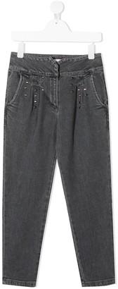 Alberta Ferretti Kids Studded Straight-Leg Jeans