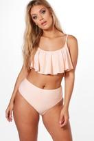 boohoo Plus Nina Crop Frill Bikini pale pink