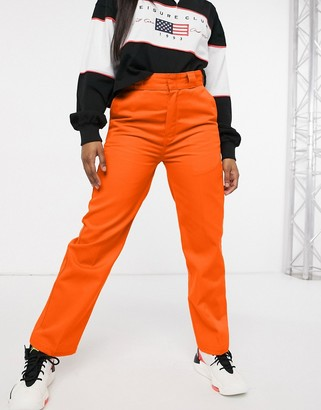Dickies Elizaville work pant in bright orange