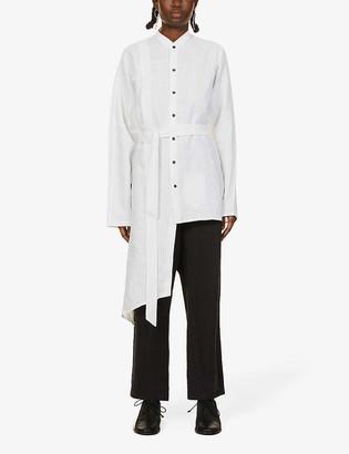 Nomad Goba Striped asymmetric linen shirt