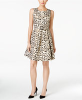 Nine West Metallic Jacquard Fit & Flare Dress