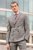 Mens Next Grey/Tan Slim Fit Check Suit: Jacket - Grey