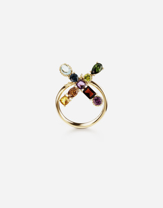 Dolce & Gabbana Rainbow Alphabet X 18 Kt Yellow Ring With Multicolor Fine Gems