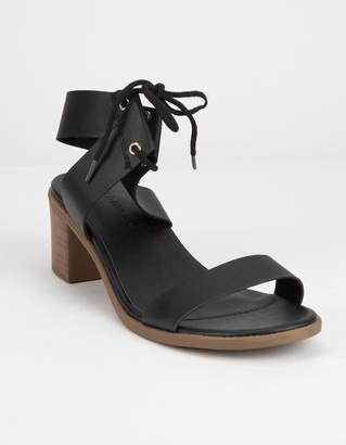 Wild Diva Lace Up Block Black Womens Heeled Sandals