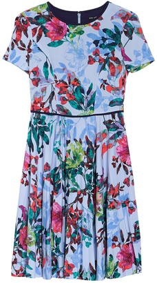 Maggy London Floral Print Pleated Dress