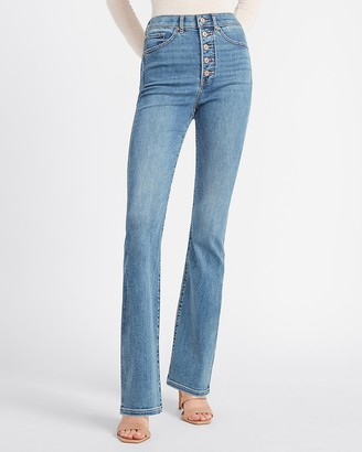 Express Super High Waisted Button Fly Bootcut Jeans