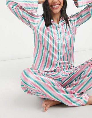 NIGHT candy stripe satin shirt and pants pyjama set