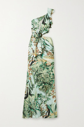 PatBO Eden Cutout One-shoulder Printed Satin Maxi Dress - Mint