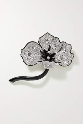 Kenneth Jay Lane Silver-tone, Enamel And Crystal Brooch