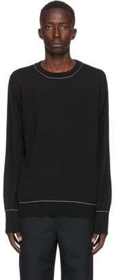 Oamc Black Wool Outline Crewneck Sweater