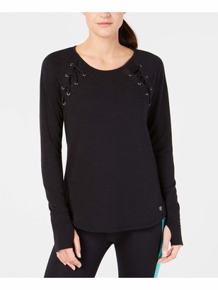 Ideology Womens Black Solid Long Sleeve Crew Neck T-Shirt Top Size: S