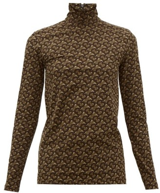 Burberry Trancura High-neck Tb-monogram Top - Brown Print