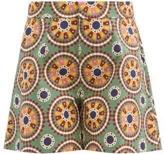 La DoubleJ Good Butt Ruote-print Cotton-poplin Shorts - Green Multi