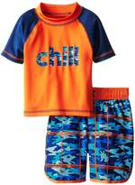 iXtreme Little Boys Chill Camo Short Sleeve 2-Piece Rashguard Swim Trunk Set
