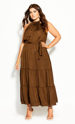 City Chic Halter Lady Maxi Dress - copper