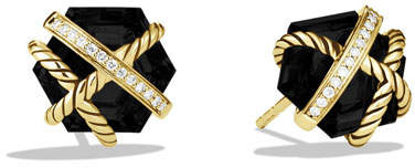 David Yurman 10mm Black Onyx & Diamond Hex Button Earrings