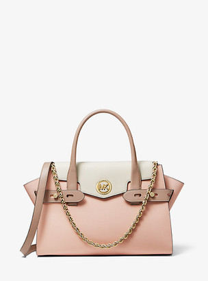 Michael Kors Carmen Large Color-Block Saffiano Leather Belted Satchel