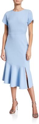 Shoshanna Cipriana Short-Sleeve Textured Crepe Midi Dress