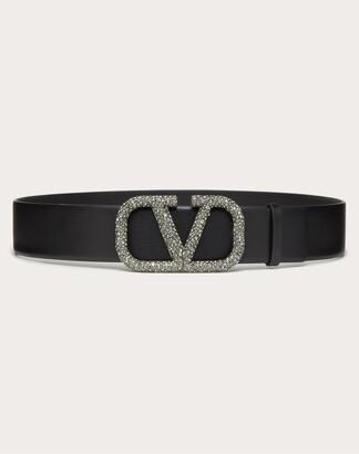 Valentino Vlogo Signature Belt In Glossy Calfskin 40mm Women Black Calfskin 100% 80