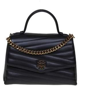 Tory Burch Handbag Kira Chevron Top-handle Satchel Leather Color Black