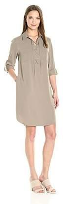 Jones New York Women's Elbow Sleeve Lace Up Front No Waist Shirt Dress
