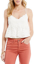 Gianni Bini Hazel Sleeveless Lace Trim Peplum Top