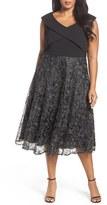Alex Evenings Plus Size Women's Tea Length Soutache Embroidered Party Dress